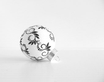 Black and White Small Tree Ornament Black and White Christmas Ornament Hand Painted