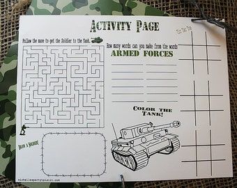 Set of 10 Army Party Activity Placemats
