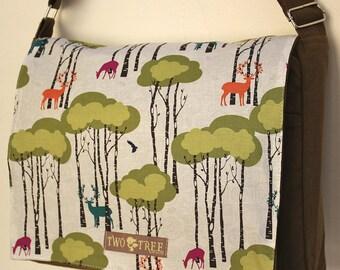 Olive DEER FOREST Print MESSENGER Book Laptop Diaper Bag