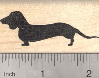 Dachshund Rubber Stamp, Wiener Dog Silhouette E25718 Wood Mounted