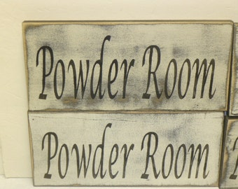 POWDER ROOM SIGN / bathroom door sign / rest room sign / hand painted sign / wood bathroom sign / bathroom wall sign / painted wood sign