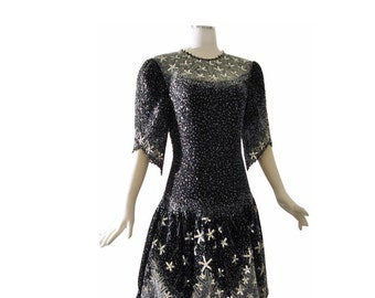 Rare Star Strewn Zandra Rhodes Dress // Sequins Beaded Art Avant Garde Dress