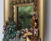 Rhinestone Jeweled Mirror Gold Vintage Jewlery Repurposed Unique Art