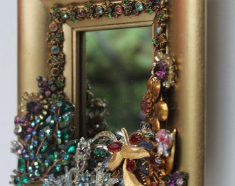 Rhinestone Jeweled Mirror Gold Vintage Jewlery Repurposed Unique Art