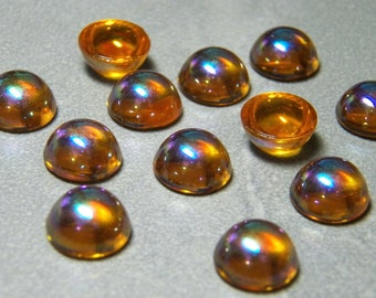 Vintage German Topaz AB 11mm Round Bombe Flat Back Glass Cabochons (4)