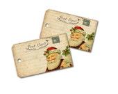 Chrismas Santa Tag,  Santa Claus Gift Tag,  St Nick Tag, Double thickness Old Christmas Tag Vintage Santa Tag, Party Gift Bag Tag
