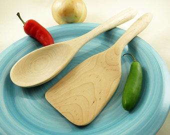 Wooden Kitchen Utensil - Handmade Sugar Maple Wooden Spoon - Wooden Spatula - Cooking Utensil, Hand carved