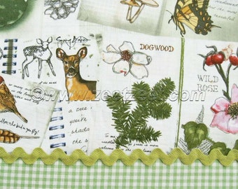 RARE BOTANICAL SKETCH 100% Cotton Apparel Quilting Weight Fabric by the Yard, Half-yard, Fq Fat Quarter Birds Deer Leaves Sketchbook Journal