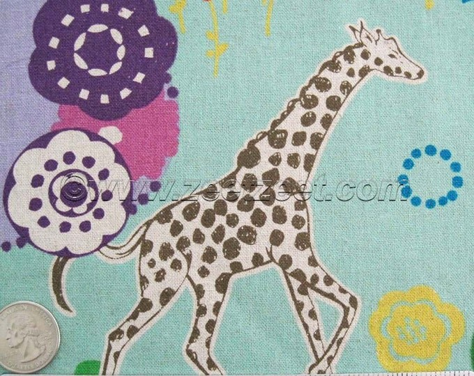GRASSLANDS GIRAFFE Elephant Antelope Turq Purple Echino Cotton Linen Japanese Import Medium Weight Fabric Japan Turquoise Lilac Orchid YARD