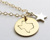 Stamped State of Texas Necklace with a Silver Star Lone Star State Dallas Houston Austin San Antonio State of Texas Jewelry Hand Stamped