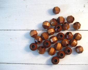 Lot of 27 Large Solid Wood Beads
