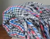 Vintage plaid throw stadium blanket - herringbone pattern white black blue red - fringe on two sides