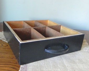 Vintage black wood drawer shadowbox divided box - 12 available
