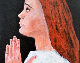 Framed Acrylic Portrait Painting. Prayer. Spiritual Art. Praying Girl. Religious Gift for Friend. Handmade Frame.