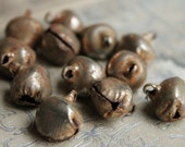 NEW! Rusted Gold  Jingle Bells - Set of 12 Gorgeous Primitive Christmas Jingel Bells - Holiday Trims 1/2 Inch Bell Trim for Decorating