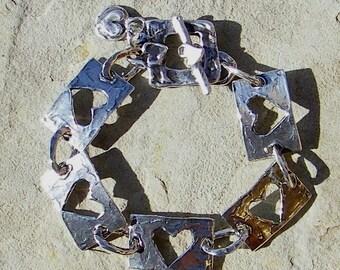 Artisan Jewelry Heart Link Handcrafted Artisan Sterling Silver Bracelet