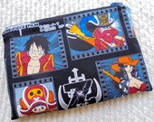 One Piece Anime Manga Padded Zipper Pouch with Dragon Ball Z Lining