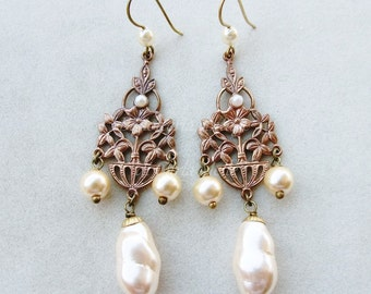 Victorian Cameo chandelier earrings with antique filigree, bohemian baroque pearls