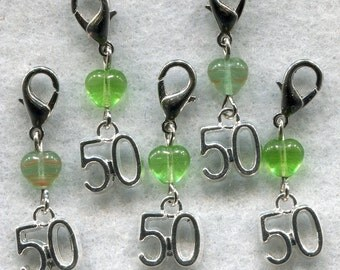 Stitch Count Stitch Markers LACE Socks 50 Count Handy Clasp! Set of 5 /SM139