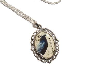 Raven necklace NEVERMORE gothic bird necklace Edgar Allan Poe steampunk goth