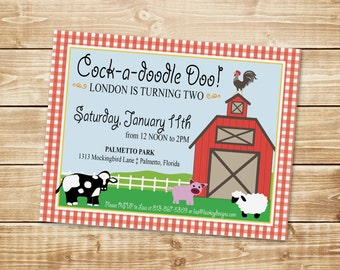 DIGITAL Barnyard Animal Birthday Invitation - Red, White Gingham Check with Cow, Pig, Sheep, Rooster, Barn