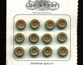 Vintage Buttons on Card 10mm Green Glass w/ Red Accent Czech Circa 1920s