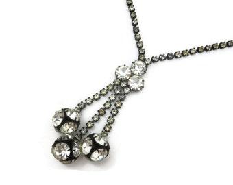 Vintage Art Deco Necklace - Clear Rhinestone Negligee