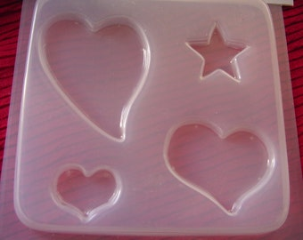 Resin Mold 3 Various Hearts and Star #618