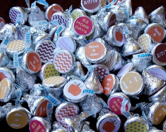 88 Hershey Kiss Labels  - Stickers for Candy Kisses - Fall Bridal Shower Favor