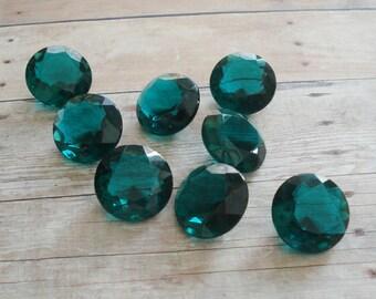 Vintage 21.5mm Emerald Green Unfoiled Round Glass Rhinestone Jewel (1 piece)