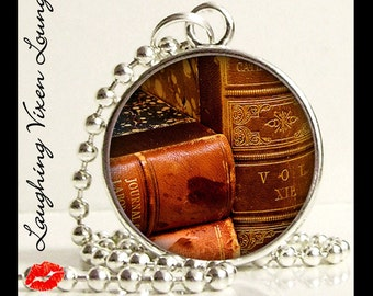 Book Necklace - Book Jewelry - Vintage Book Pendant Style-B - Literary Jewelry - Literary Necklace - Reading Jewelry - Reading Necklace
