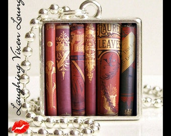 Literary Necklace - Book Jewelry - Book Necklace - Vintage Book Pendant Style-E - Reading Jewelry - Literary Jewelry - Reading Necklace
