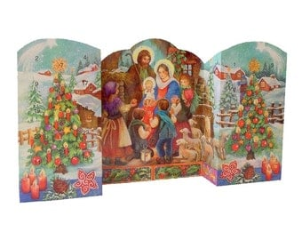 Large Advent Calendar From Spain Childrens Nativity 3-D Standing Christmas