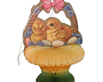 Vintage Easter Honeycomb Table Decoration ~ Chicks In Basket  CDH 04