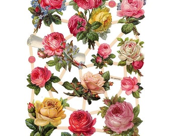 Germany Paper Scraps Die Cut Lithograph Victorian Pink Yellow Roses  7448