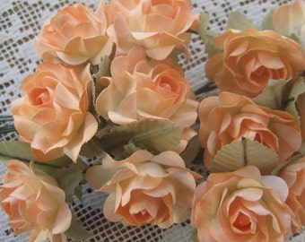 12 Open Paper Millinery Roses In Peach Mix