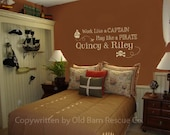 Personalized Work Like a Captain -Play Like a Pirate - wall graphic decal