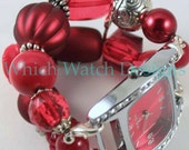 Red Hot.. Chunky Red Jumble Interchangeable Beaded Watch Band, Acrylic, Valentine's Day