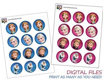 "Disney Frozen 2"" Circle Printable -- DIGITAL -- for cupcake picks, labels, and more!"