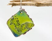 Single Asymmetrical Textured Earring with Torch Fired Enamels from Earring A Day Challenge 2015