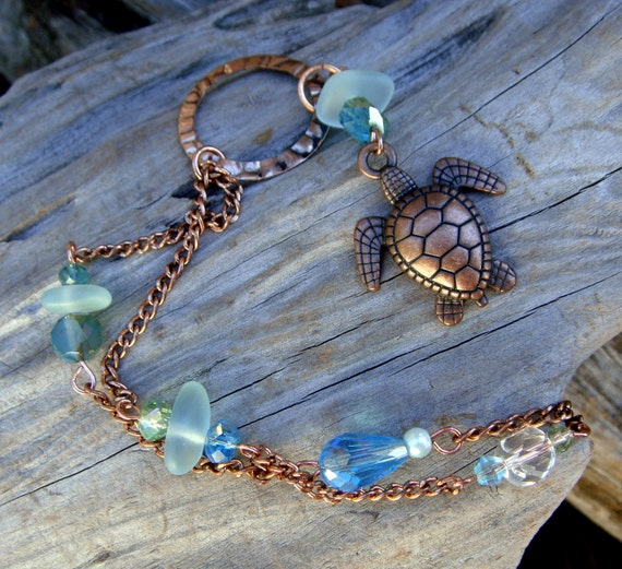 Light Blue Cape Cod Sea Glass Turtle Copper Necklace Beach