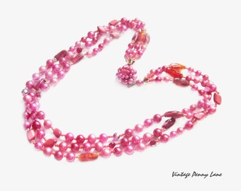 Vintage Pink Pearl Bead Necklace, Triple Strand