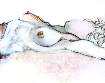 Erotic Art Print, Pinup, Female Nude, Mature - My Star