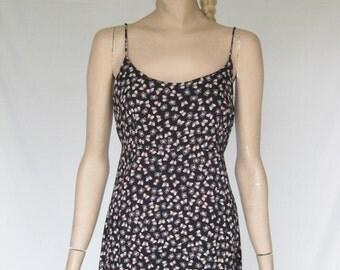 Vintage 90s  Grunge Butterfly Print Midi Dress