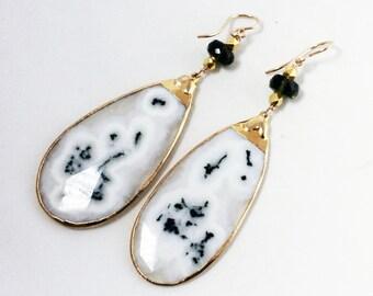 Rare Moldavite Earrings Peacock Solar Stalactite Quartz Rare Stone Earrings Gemstone Statement Earrings One of a Kind MDV-E-002-MSQ-001