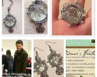 SALE The Soul of Sam Winchester Necklace Ring Earrings Set Jared Padalecki Supernatural SPN