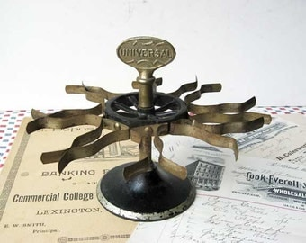 Vintage 1920's  Universal Made in USA  Industrial Office Iron Basel Desk Top Rotating Rubber Stamp Holder