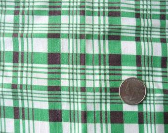 Vintage 1940's Feed Sack Cotton Fabric, Green, Gray, White Plaid Pattern
