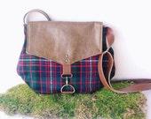 satchel • fall winter crossbody bag • tartan wool plaid - pebbled brown leather • small messenger - cross body purse - rachelelise