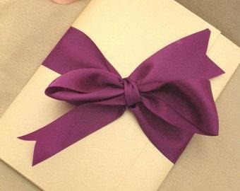 Tri panel folded card invitation with ribbon invitation (Sample)